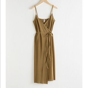 & Other Stories Olive Ribbed Midi Wrap Dress